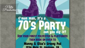 70 theme Party Invitation Wording 70s Party Invitations Nifty Printables