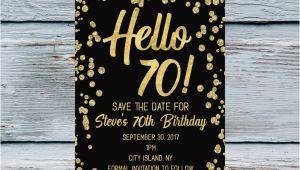 70 Year Old Birthday Invitation Template Hello 70 Save the Date Men 70th Birthday Invitation 70