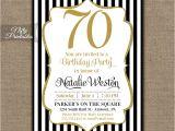 70 Year Old Birthday Invitations 70th Birthday Invitations Black & Gold Glitter 70 Seventy