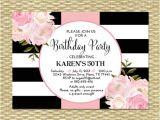 70th Birthday Brunch Invitations 30th Birthday Invitation Black White Stripes Pink Peonies