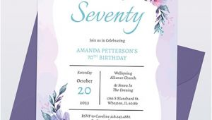 70th Birthday Invitation Template Word 70th Birthday Invitation Template Word Psd Indesign