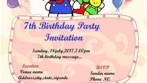 7th Birthday Invitation Template Hello Kitty Hello Kitty 7th Birthday Party Invitation Template Hello