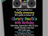 80s 90s Party Invitation Template 80s Party Invitation Printable or Printed with Free