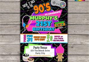 80s 90s Party Invitation Template Takin It Back to the 90s Retro Birthday Invite Personalized