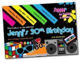 80s theme Party Invitation Templates Free 20 Interesting 30th Birthday Invitations themes Wording