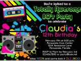 80s theme Party Invitation Templates Free 80s Party Invitations Template Free Cobypic Com