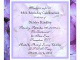 85th Birthday Invitations 85th Birthday Party Invitation Purple Hydrangeas