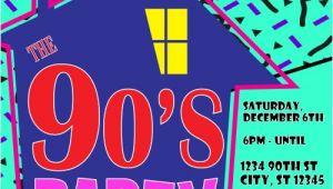 90s themed Birthday Party Invitations 90 39 S theme House Party Digital Birthday Invitation