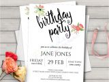 A5 Party Invitation Template Printable Birthday Invitation Template Watercolour Floral