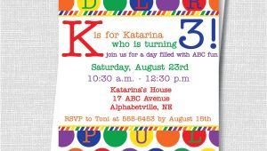 Abc Birthday Party Invitations Abc Birthday Party Invite Rainbow Alphabet Party Birthday