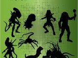 Alien Vs Predator Birthday Invitations Alien Vs Predator Silhouettes 8 Png 300dpi Clipart by