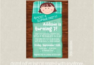 Almost Sleepover Party Invitations Girls Almost A Slumber Party Birthday Party by