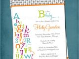 Alphabet Baby Shower Invitations Alphabet Baby Shower Invitation Abc Library Invite Bring A