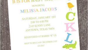 Alphabet Baby Shower Invitations Alphabet Baby Shower Invitations by Paper Monkey Pany