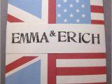 American Flag Wedding Invitations Handmade English and American Flag Wedding Invitation for