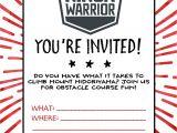 American Ninja Warrior Birthday Invitation Template American Ninja Warrior Birthday Party Wit Wandermn
