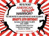 American Ninja Warrior Birthday Invitation Template American Ninja Warrior Invitation Sweetdesignsbyregan