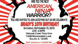American Ninja Warrior Birthday Invitations American Ninja Warrior Invitation Sweetdesignsbyregan