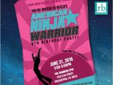 American Ninja Warrior Party Invitations Girl American Ninja Warrior Invitations American Ninja