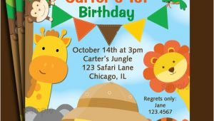 Animal themed Birthday Party Invitation Wording Animal Invitation Printable or Printed with Free Shipping