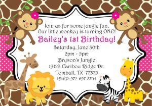 Animal themed Birthday Party Invitation Wording Safari themed First Birthday Invitation Wording Birthday