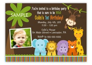 Animal themed Birthday Party Invitation Wording Wild Jungle theme Birthday Party Invitation Boy or Girl You