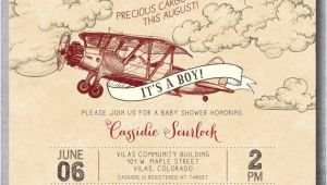 Antique Airplane Baby Shower Invitations Vintage Airplane Baby Shower Invitation Baby Boy Shower