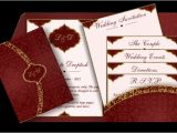 Arabic Style Wedding Invitations Arabic Pattern Email Wedding Invitation In Red Gold