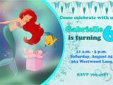 Ariel Birthday Invitations Printable Ariel the Little Mermaid Happy Birthday Party Invitation