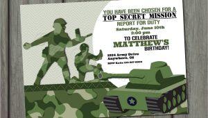 Army Birthday Invitation Template Green Army Men Birthday Invitation by Partyinvitesandmore