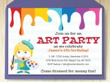 Art Party Invitation Template Art Party Invitation Card Template Printable Kids Painting