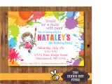 Art Party Invitation Template Art Party Invitation Dress for A Mess Splatter Paint