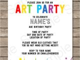 Art Party Invitation Template Art Party Invitations Template Art Party Invitations