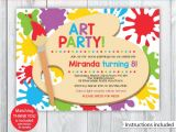 Art Party Invitation Template Art Party Printable Art Party Invitation Kids Art Party