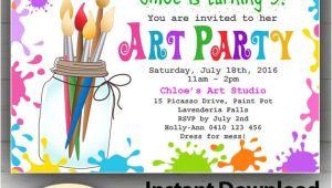 Art Party Invitation Template Editable Printable Art Party Invitation Children 39 S