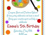 Art Party Invitation Template Free Art Birthday Party Invitations for Your Kids Bagvania