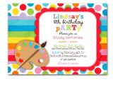 Art themed Birthday Party Invitation Wording Art Birthday Party Invitation Bright Colors Custom for