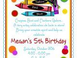 Art themed Birthday Party Invitation Wording Items Similar to Art Party Invitations Crayon Invitations