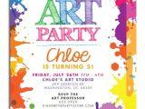 Art themed Birthday Party Invitation Wording Party Invitation Birthday Art Quotes