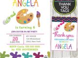Art themed Birthday Party Invitations Coloring Crayons Art Party Invitation Personalized D1