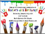 Art themed Birthday Party Invitations Paint Party Ideas Games and Party Supplies