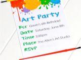 Art themed Birthday Party Invitations Party Invitations Very Best Art Party Invitations Art