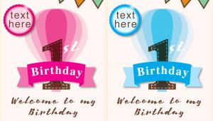 Baby Birthday Invitation Card Template Vector Invitation 1st Birthday Girl and Boy Download Free