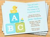 Baby Block Shower Invitations Boy Baby Shower Invitation Abc Blocks Duckie and Pacifier