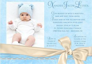 Baby Boy Baptism Invites Azure Baptism Invitation Blue & Ivory Little Boy S
