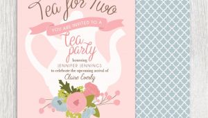 Baby Girl Shower Tea Party Invitations Printable Tea Party Baby Shower Invitation Tea Pot Floral