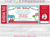 Baby Shower Boarding Pass Invitations Dr Seuss Baby Shower Boarding Pass Ticket Invitation with