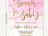 Baby Shower Brunch Invitation Wording Baby Shower Brunch Invitation Pink White Gold Glitter Omb