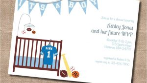 Baby Shower Invitation Acceptance theme Sports themed Baby Shower Invitation Acceptance