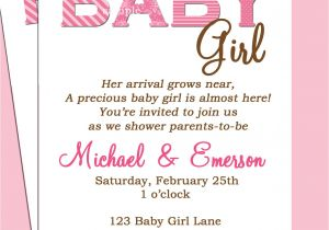 Baby Shower Invitation Ideas for Girls Baby Shower Invitation Wording